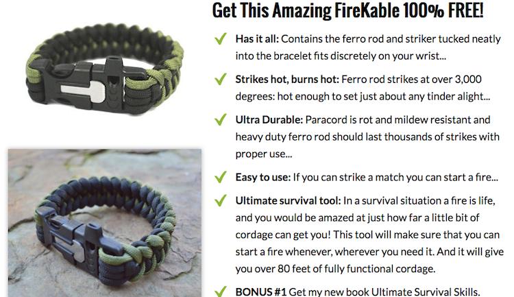 FREE FireKable Paracord Bracelet