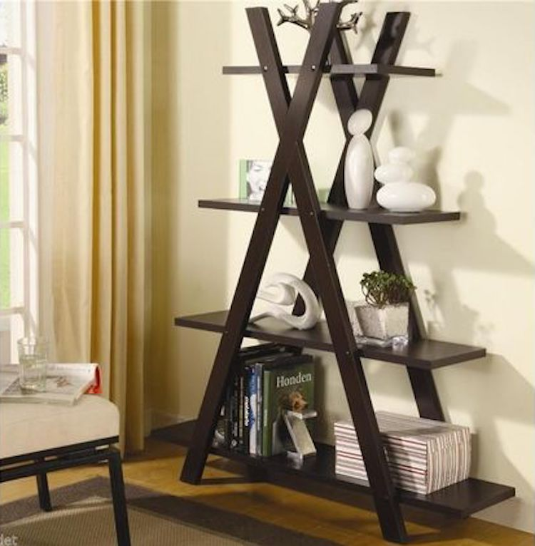 Tall Ladder Style Shelving Unit With Drawers And Pull Out Table Vinterior