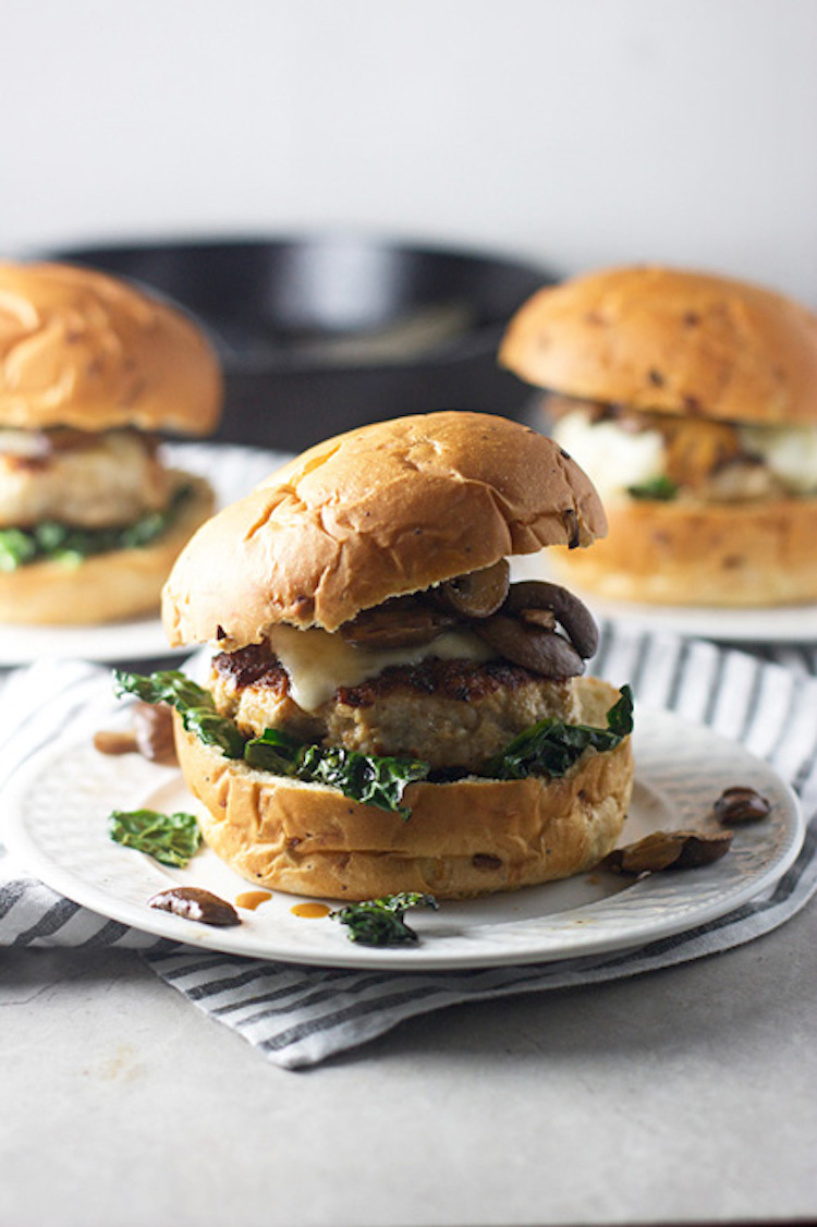A chicken marsala burger recipe with a thick onion buns, topped with the chicken patty, covered in marsala mushrooms . | Ideahacks.com