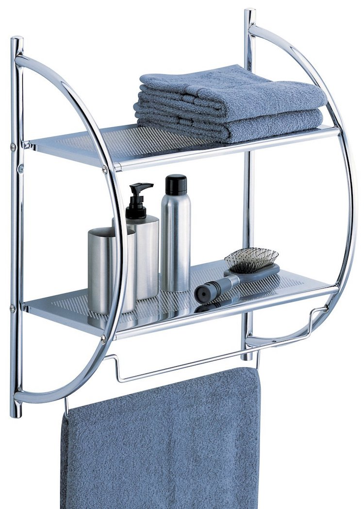 Organize It All 2-Tier Shelf with Towel Bars