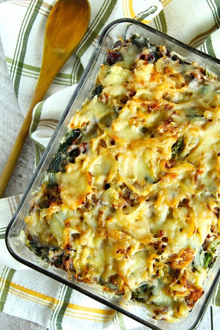 A casserole recipe with spinach, shitake mushrooms, dried cranberries, caramelized onions, and gruyere cheese. | Ideahacks.com