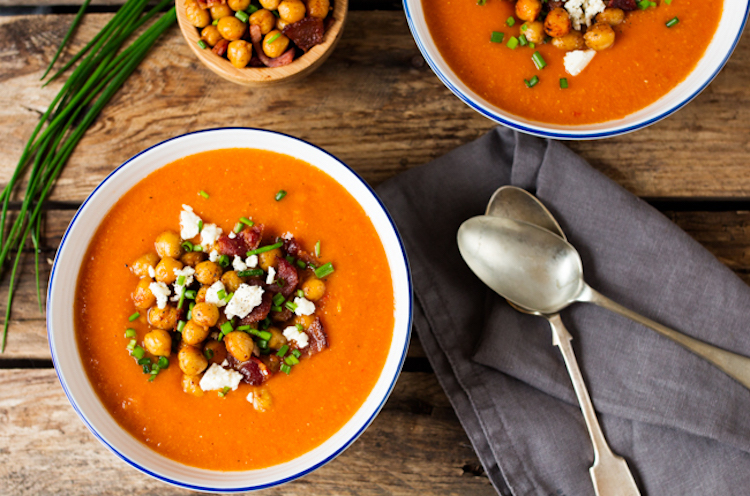 Spicy Lentil Soup with Smoky Chickpeas, Crispy Bacon and Creamy Feta. | Ideahacks.com