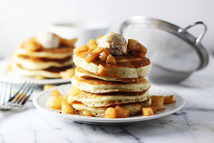 Vanilla Bean & Brown Butter Pancakes with Pear Compote & Cinnamon Mascarpone