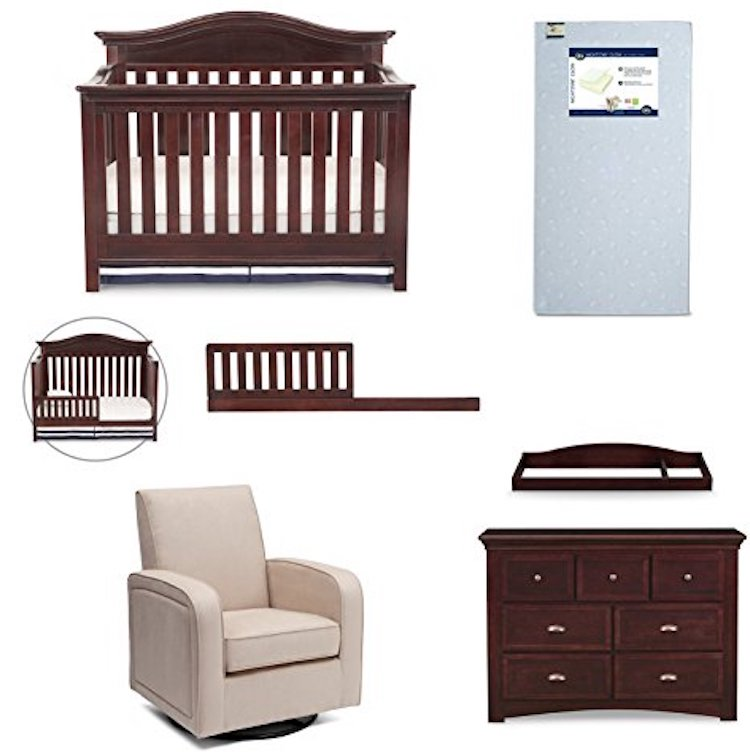 Simmons Kids Augusta 6 Piece Moles Brown Nursery Furniture Set