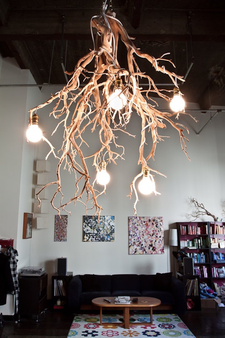 Organic Wooden Lamp Created Out of Dried Willow Tree