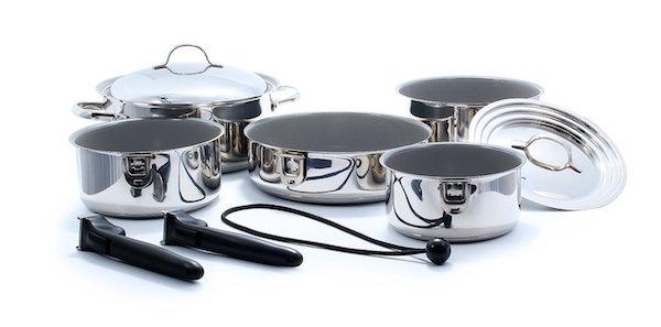 Camco 43926 Ceramic 10 Piece Nesting Cookware Set