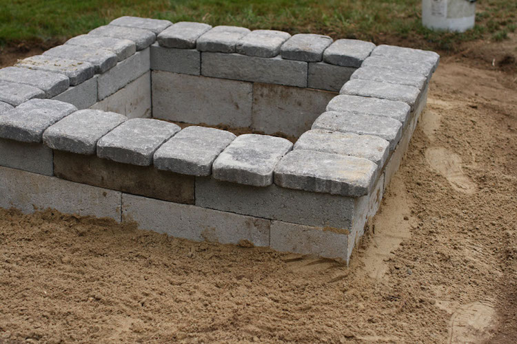 Large Stone Square Fire Pit