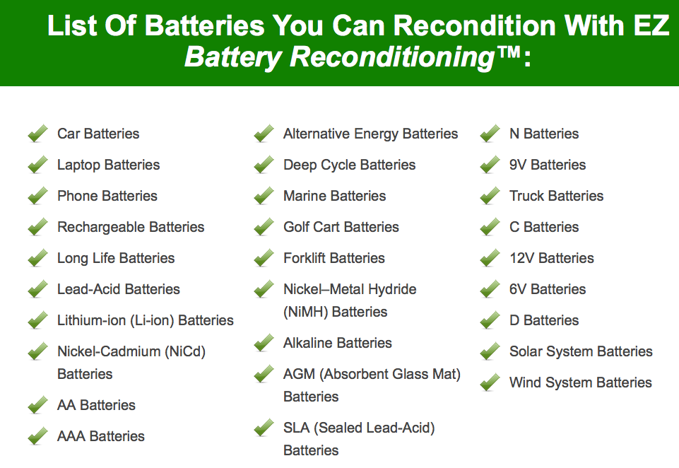 List of Batteries You Can Recondition
