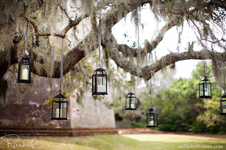 Hanging candlelit lanterns