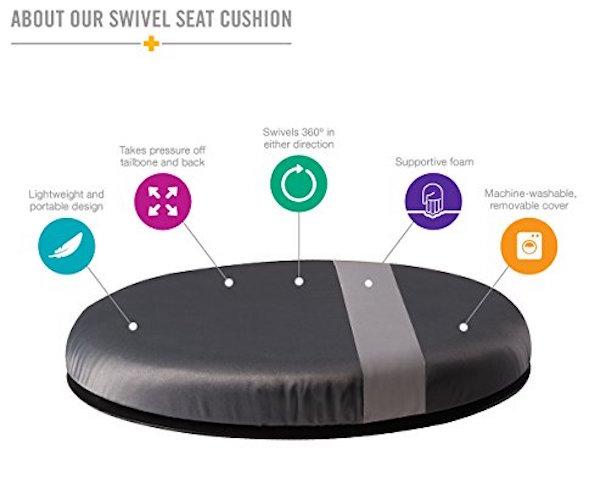 HealthSmart Vivi Relax-A-Bac Premium Swivel Seat Cushion