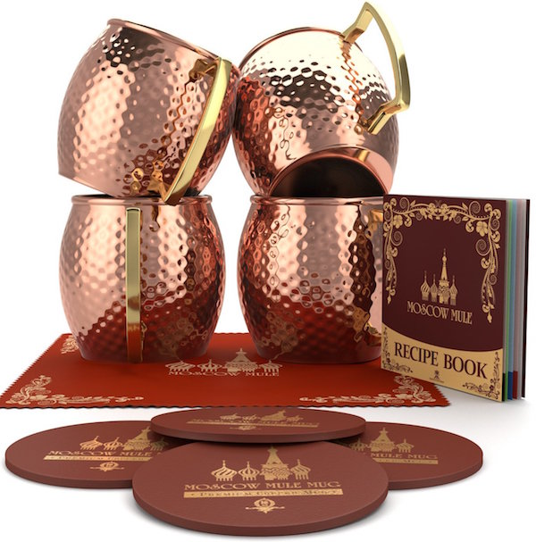 Krown Kitchen - Hammered Moscow Mule Copper Mug Set of 4