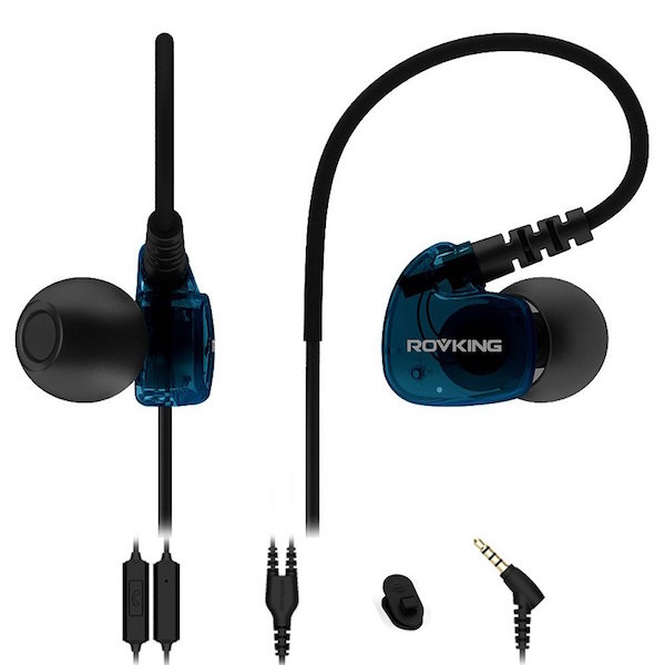 Rovking Sweatproof Sports Workout Headphones In-Ear Bass Exercise Ear pods