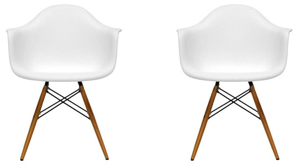 BTExpert Pair of Eiffel Eames Style Armchair Natural Wood Dowell Legs Dining Room Lounge Arm Chair