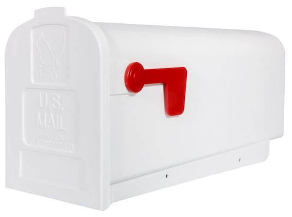 Gibraltar Parson Medium Capacity Rust-Proof Plastic White Post-Mount Mailbox