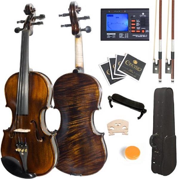 Mendini 4/4 MV500+92D Flamed 1-Piece Back Solid Wood Violin