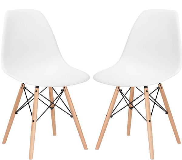 Poly and Bark Eames Style Molded Plastic Dowel-Leg Side Chair