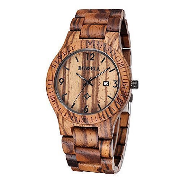 SILILUN Coffee Color Maple Wooden Men's Watch