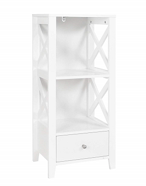 Spirich Home Modern X- Frame Freestanding Floor 3-Shelf Bathroom Storage Tower