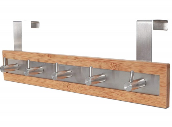 ToiletTree Products Bamboo Wood & Stainless Steel Over The Door Towel Rack