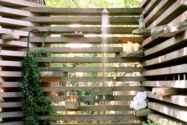 Wooden Pallet Outdoor Shower