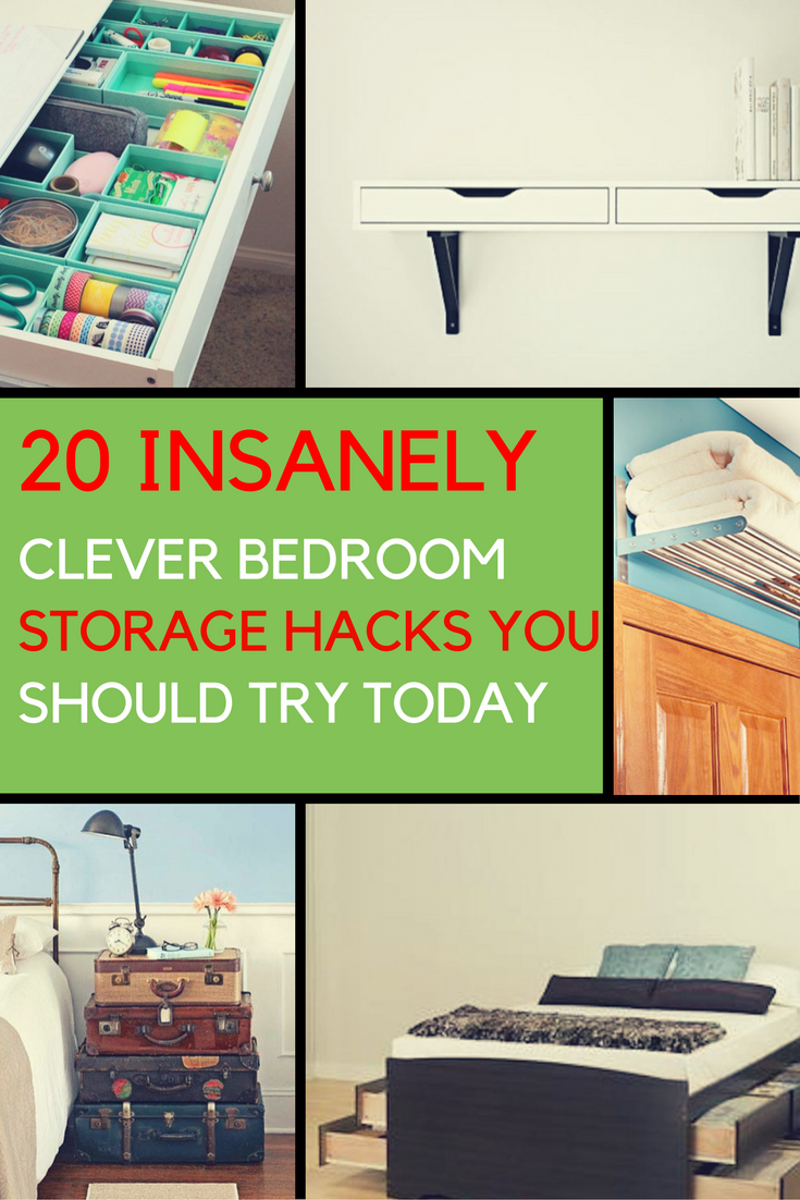 20 Insanely Clever Bedroom Storage Hacks You Should Try Today. | Ideahacks.com