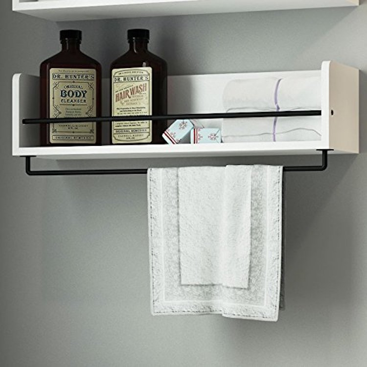 ArtifactDesign White Rustic Bathroom Wood Wall Shelf