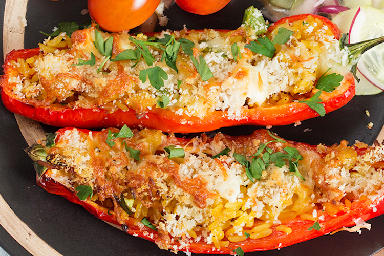 Greek-ish Stuffed Peppers - A great vegetarian make-ahead meal that even the meat-eaters will love! Ideahacks.com