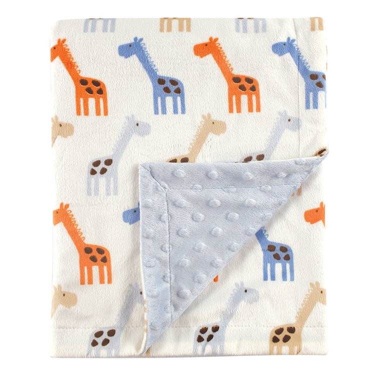 Hudson Baby Printed Mink Blanket with Dotted Backing