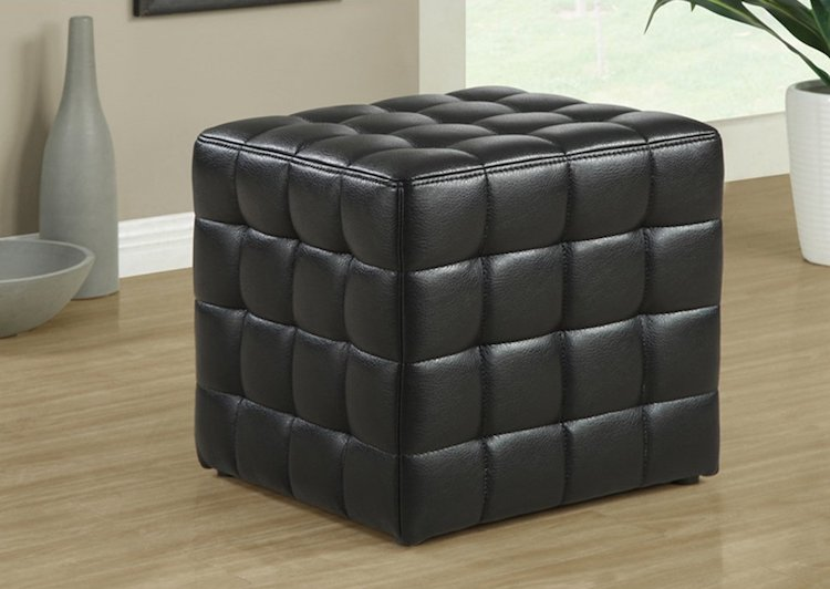 Monarch Specialties Leather-Look Ottoman