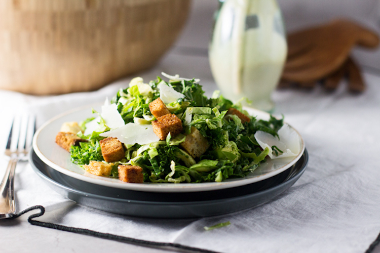 This skinny kale and brussels sprout salad recipe always hits the spot. | Ideahacks.com