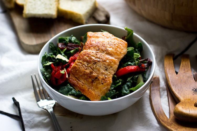 Seared Salmon Salad with Dates, Roasted Red Peppers and Fontina