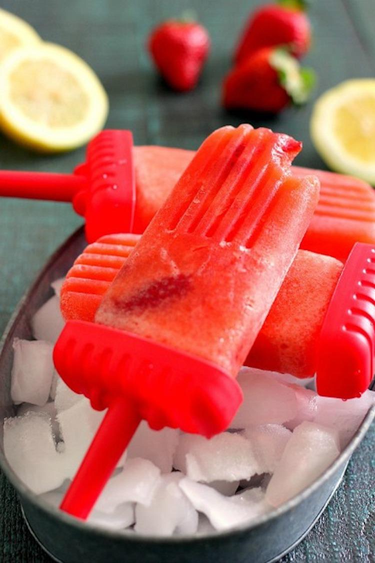 Strawberry Lemonade Popsicles