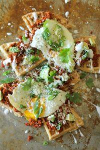 Chorizo Breakfast Waffle Nachos