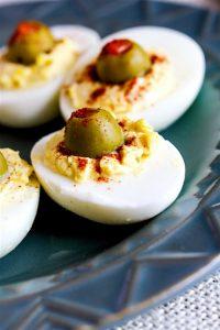 Creamy Olive Pimento Deviled Eggs