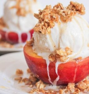 Grilled Peach Crisp Sundaes with Cinnamon Honey Drizzle