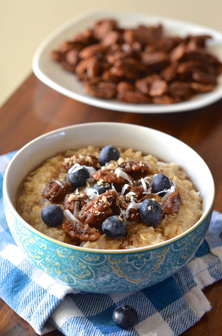Oatmeal With Candied Pecans