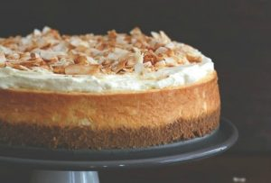 coconut cheesecake with a macadamia crust