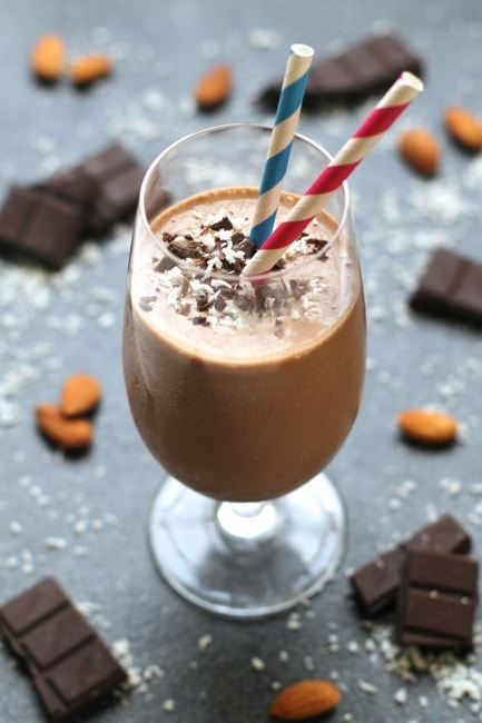 almond joy smoothie ready for serving