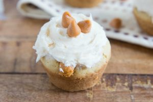 Miniature Caramel Filled Butterscotch Cookie Cups - This is the perfect mini dessert recipe that includes butterscotch and caramel. Yummy! | Ideahacks.com