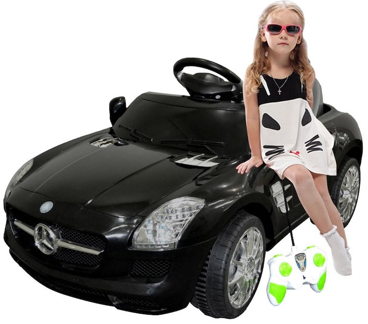 Black Mercedes Benz SLS R/C MP3 Kids Ride