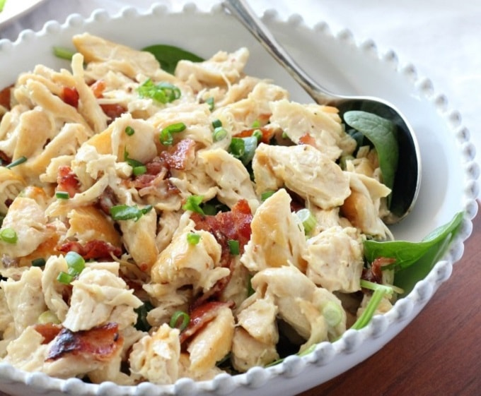 chicken salad with bacon and green onions
