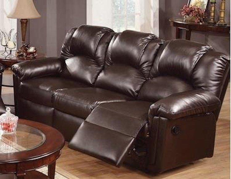 Espresso Bonded Leather Reclining Motion Sofa