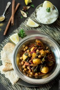 Potato Chickpea Beet Green Curry