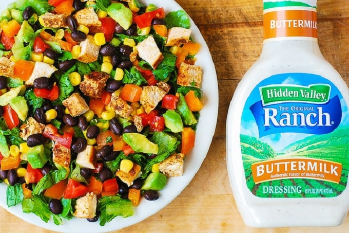 southwestern chopped salad with buttermilk ranch