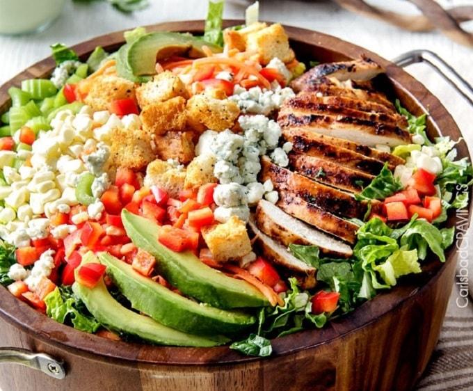 buffalo chicken salad with bleu cheese cilantro ranch