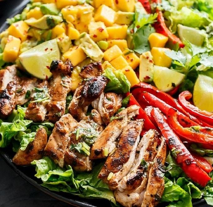 cilantro lime chicken salad with mango salsa
