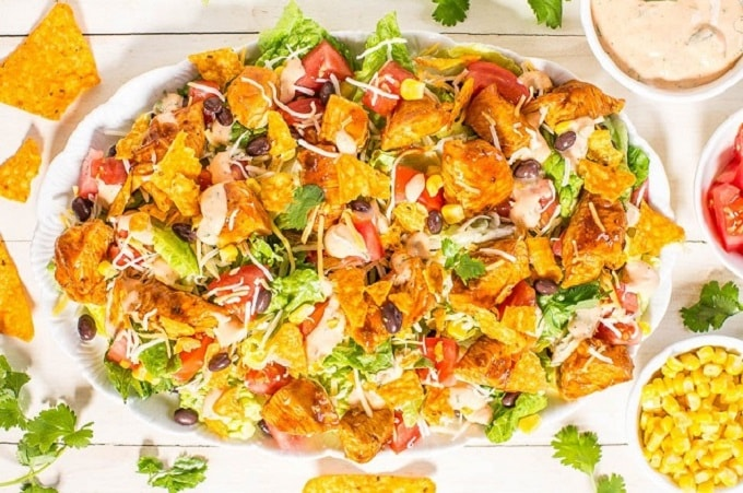 loaded chicken taco salad