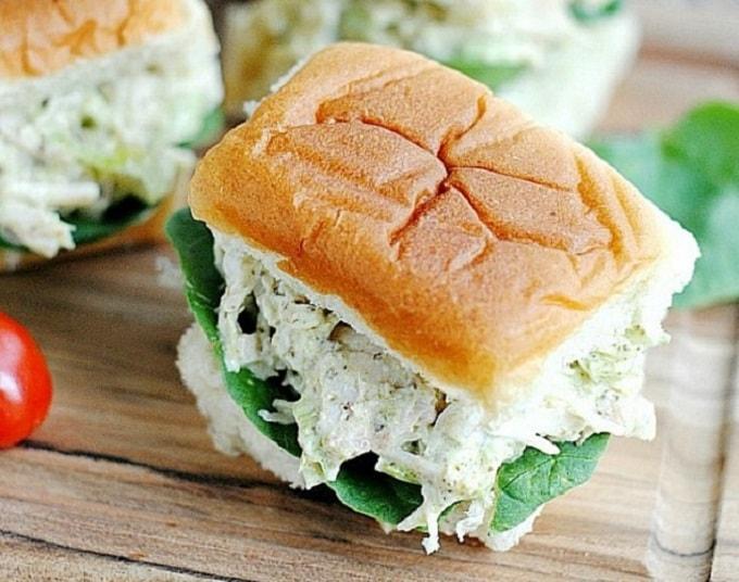 pesto chicken salad on a sandwich roll