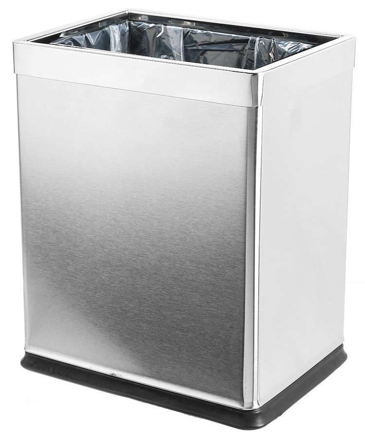 Brelso 'Invisi-Overlap' Open Top Stainless Steel Trash Can