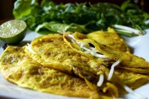 Crispy Vietnamese Crepes with Sautéed Kale & Mushrooms